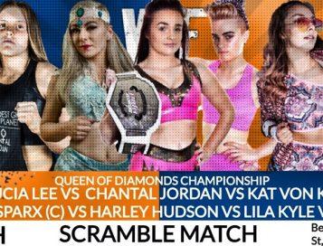 Scramble Match voor Queen of Diamonds titel bij Wrestling For